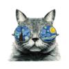 Kép 3/4 - Van Gogh macska   grafikás női pamutpóló