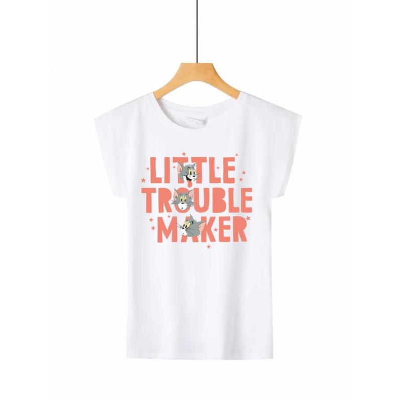 TOM & JERRY - Trouble   grafikás női pamutpóló