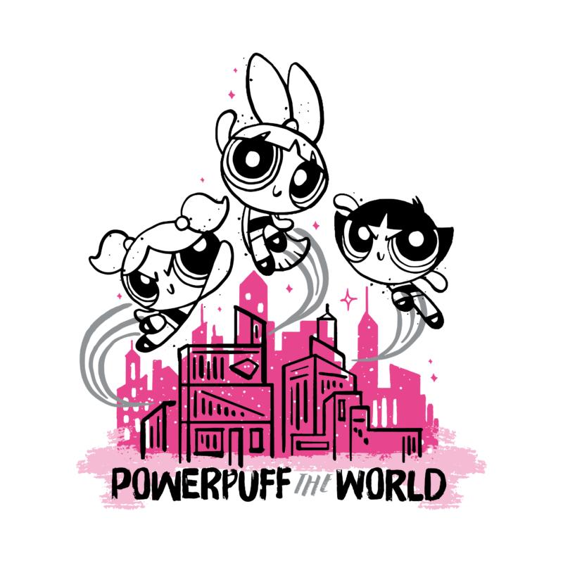 POWER PUFF GIRLS - POWERPUFF WORLD | grafikás női pamutpóló