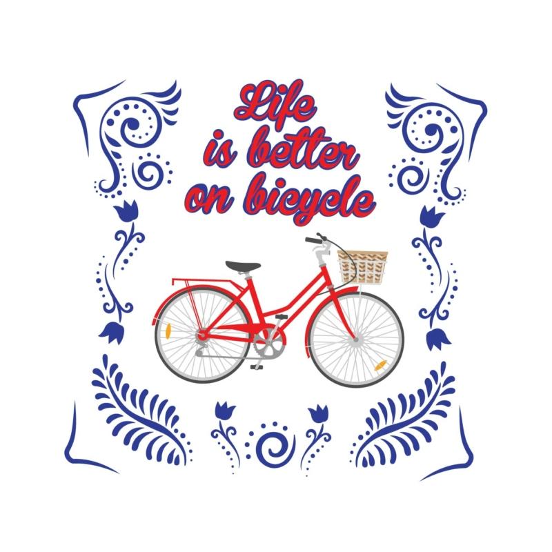 Life is better   bicikli mintás női póló