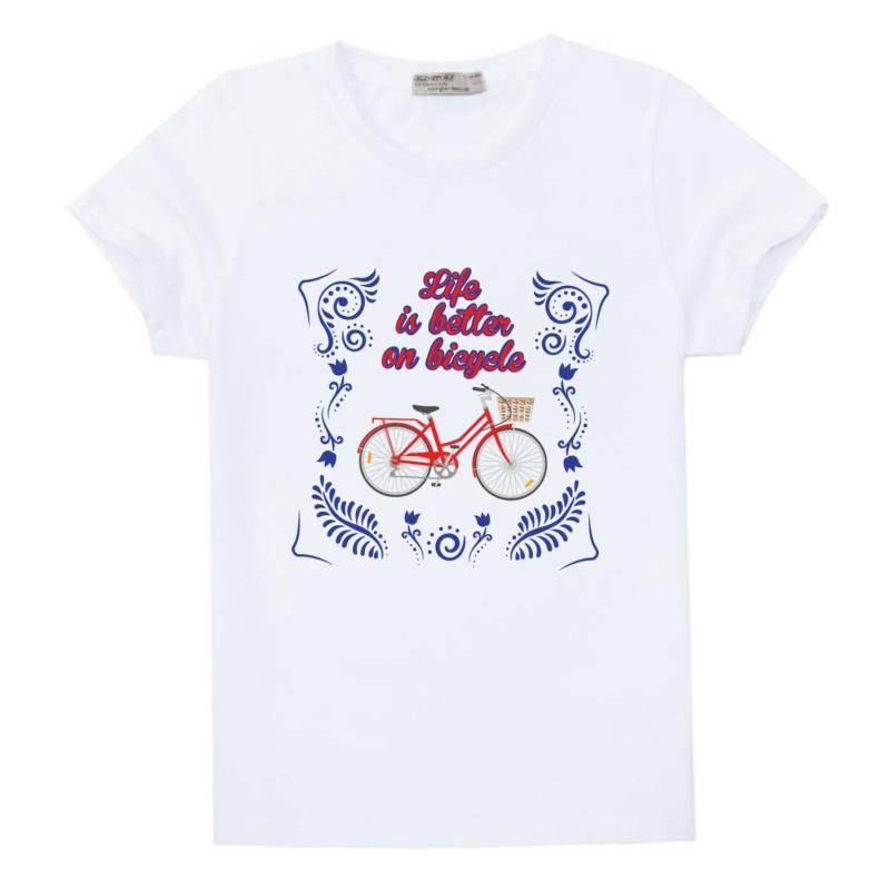 Life is better | bicikli mintás kislány póló
