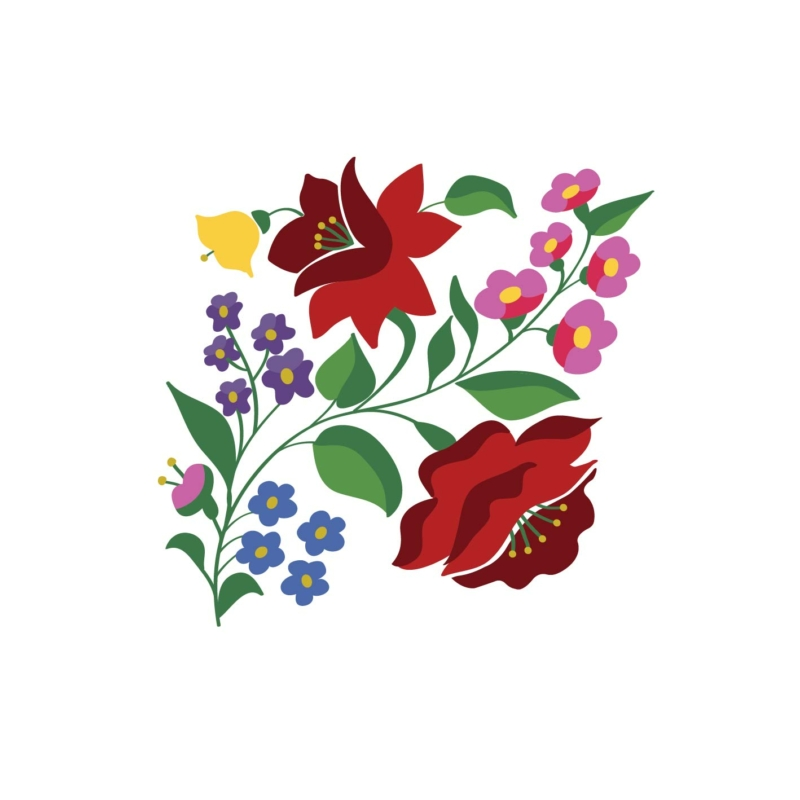 KALOCSAI Piros Rózsa  grafikás vászontáska