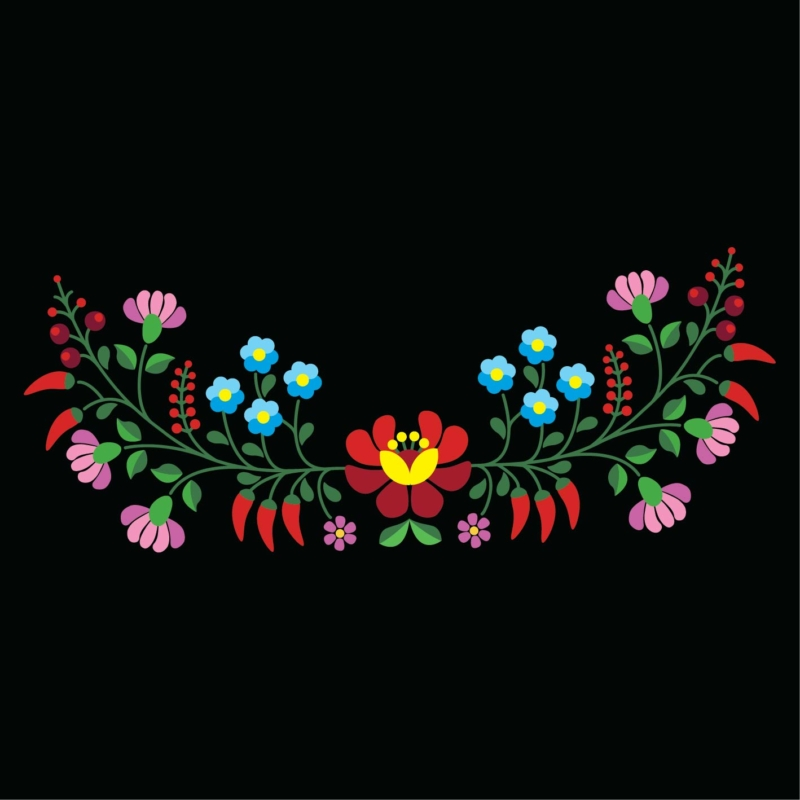 Kalocsai szines virag  grafikás női pamutpóló
