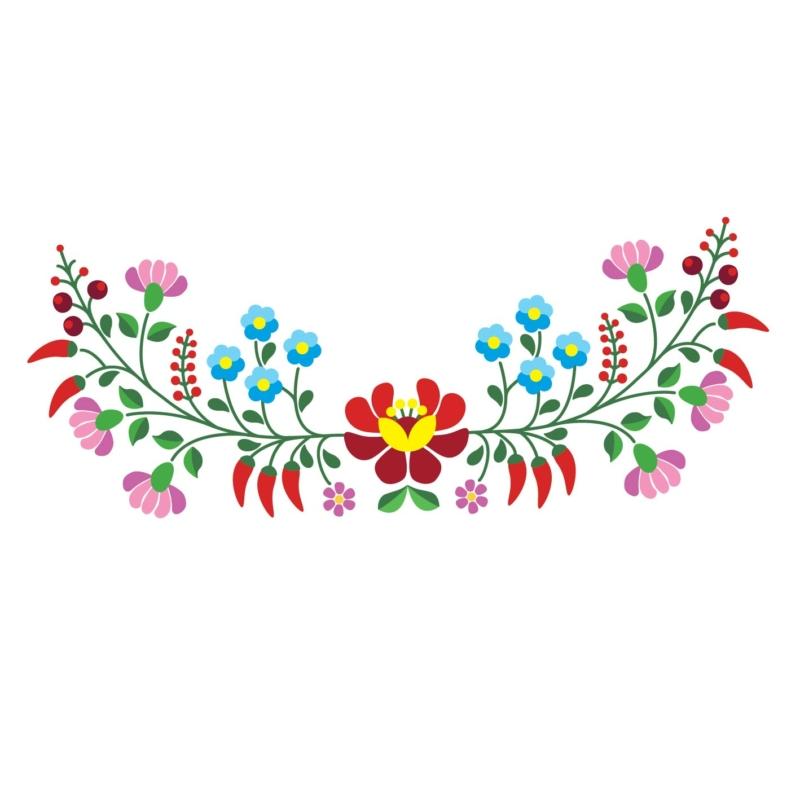 Kalocsai színes virágok | grafikás lány pamutpóló