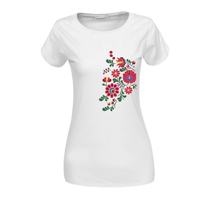 Matyó virágok | grafikás női pamutpóló