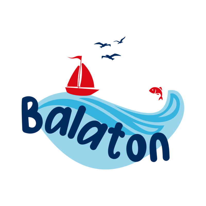 Balatoni piros hajó | grafikás férfi póló