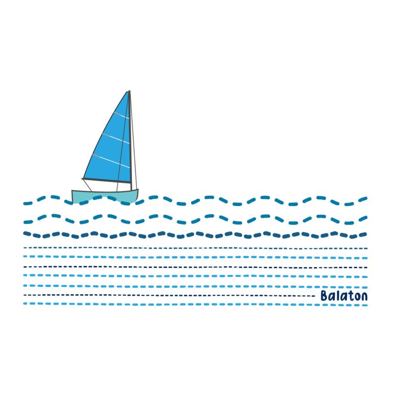 Kék vitorlás Balaton | grafikás női pamutpóló