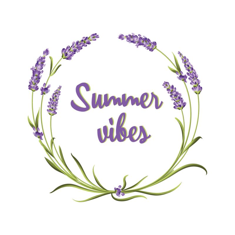 Summer vibes levendula   grafikás lány pamutpóló