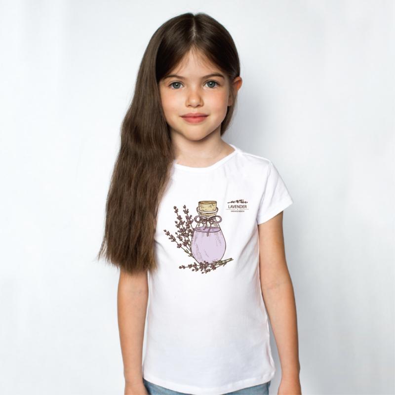 Levendula fiola | grafikás lány pamutpóló
