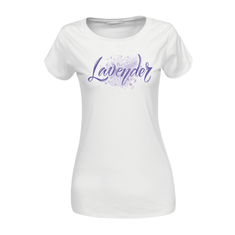 Lavender paca | grafikás női pamutpóló