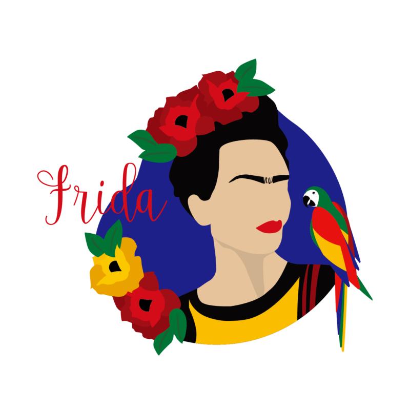 Papagájos Frida | grafikás női pamutpóló