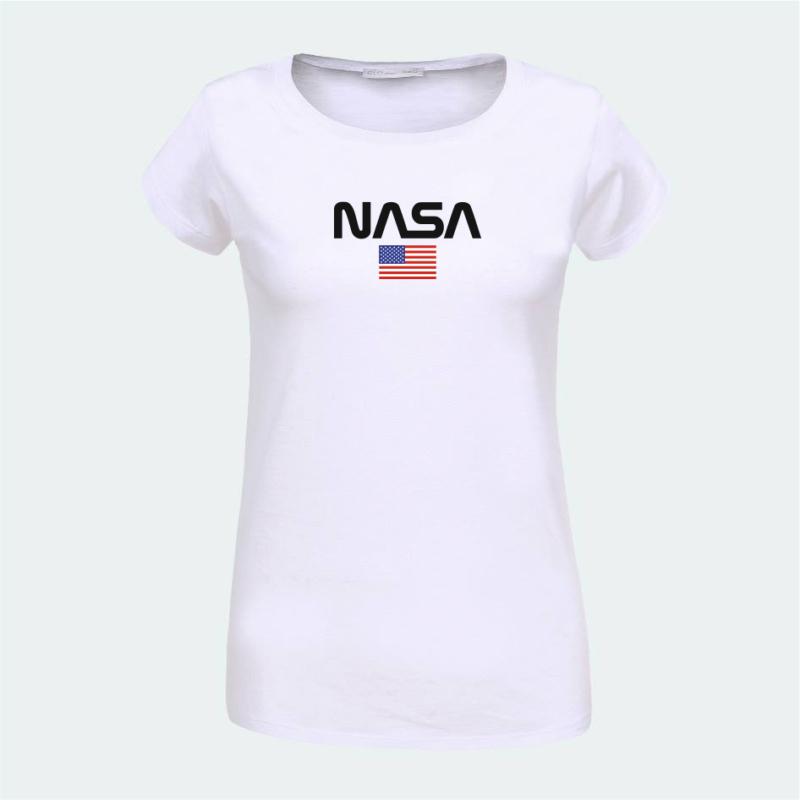 NASA & USA flag | grafikás női pamutpóló
