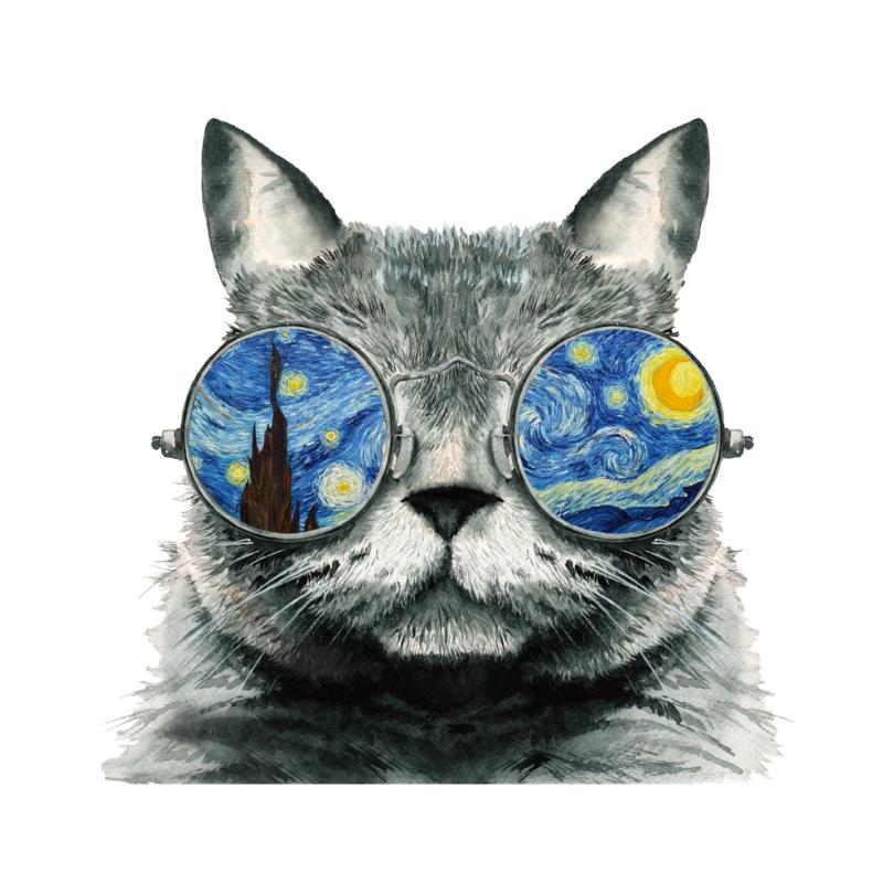 Van Gogh macska   grafikás női pamutpóló