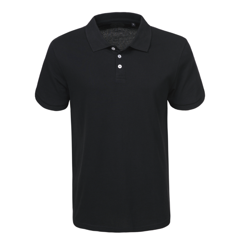 Férfi galléros pamut póló | fekete
