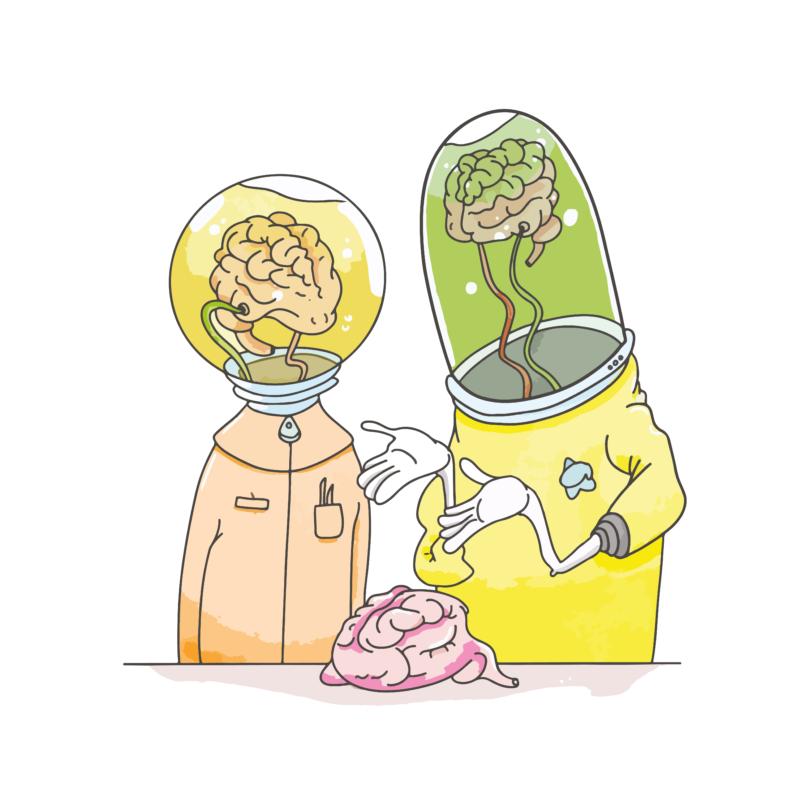 Brain Labs   grafikás férfi pamutpóló