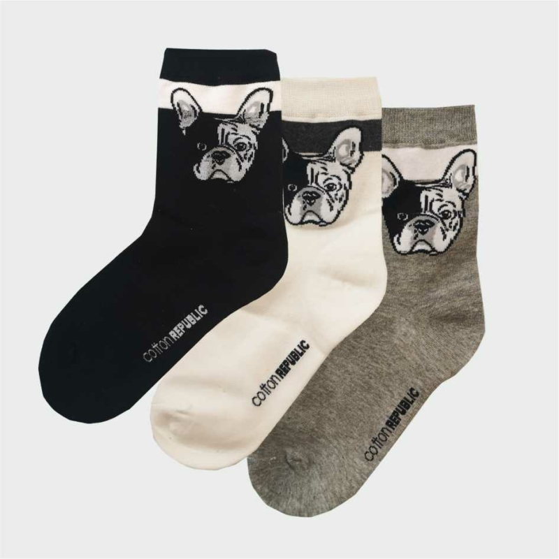 Női vidám Bulldog szürke zokni | Női zokni
